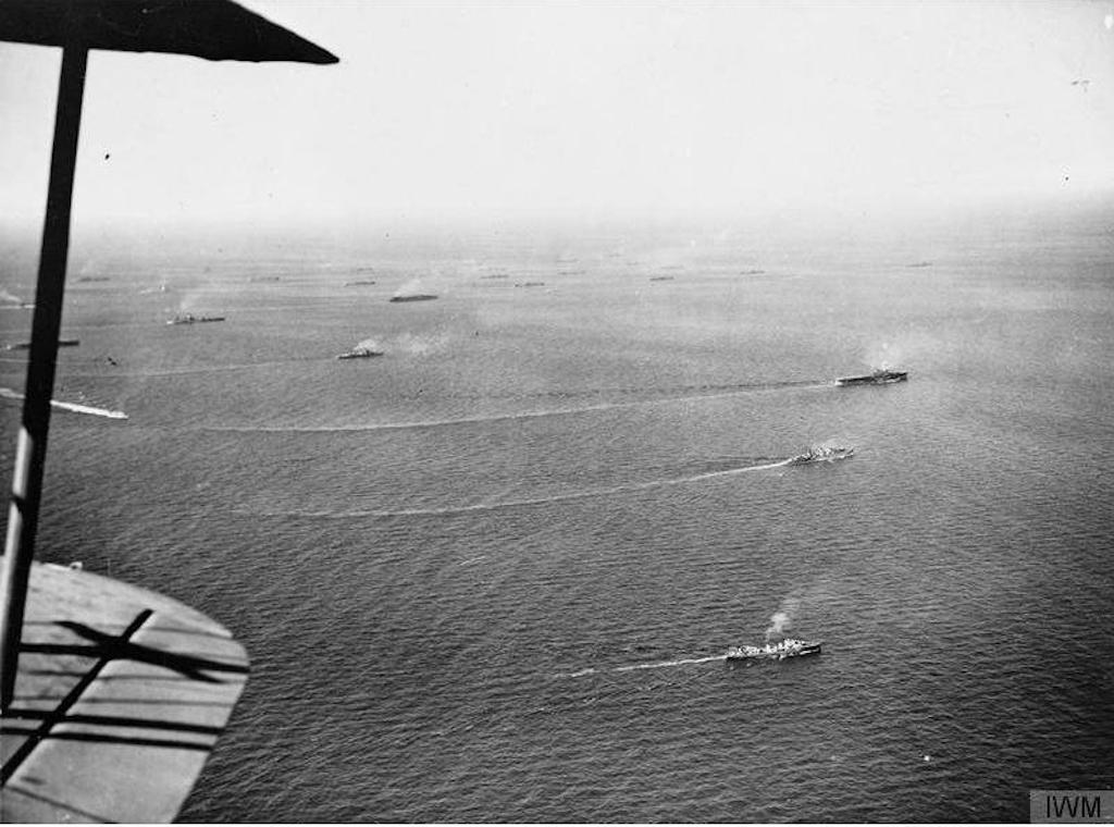 The convoy as seen from the air.