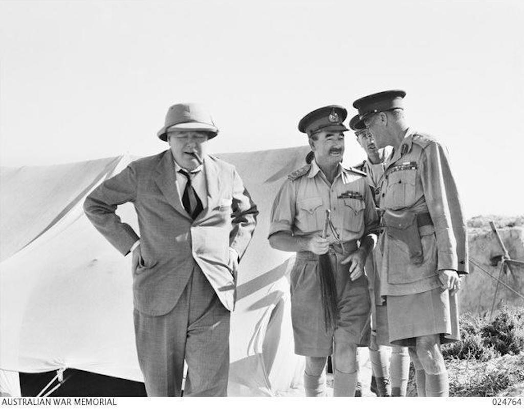 05 August 1942 photo (L-R) Prime Minister Churchill, LT General Leslie Morshead, General Claude Auchinleck and Lt Gen W.H.C. Ramsden at the 9th Australian Division Headquarters, El Alamein, Egypt. Image: Public Domain.