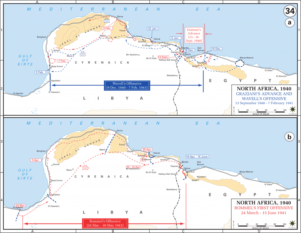 A map showing Graziani's gain and losses and Rommel's first offensive gains.