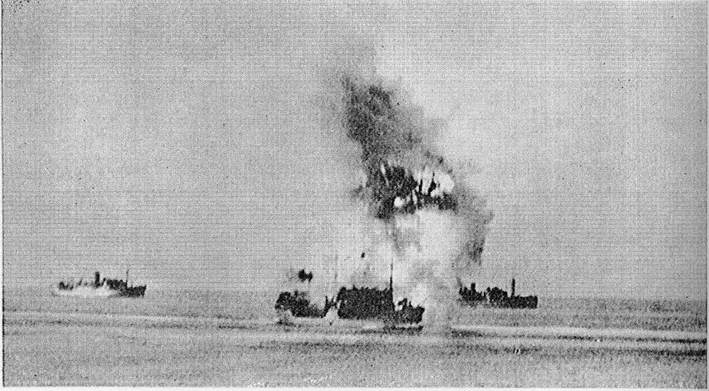 The tanker Ohio hit by a torpedo from the Italian submarine Axum during Operation Pedestal.
