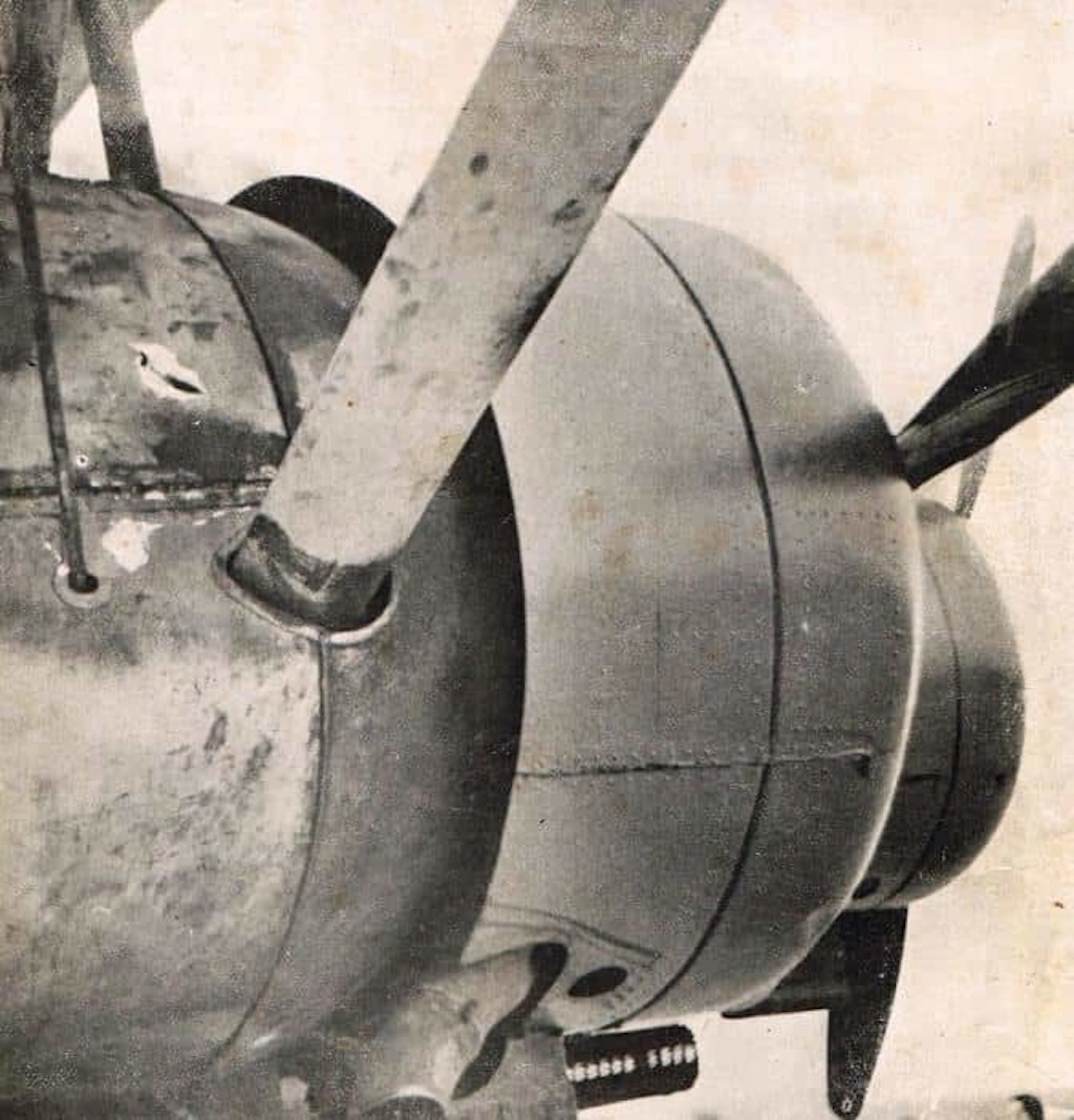 Visible damage from British anti-aircraft fire on the Ca.148 I-ETIO.