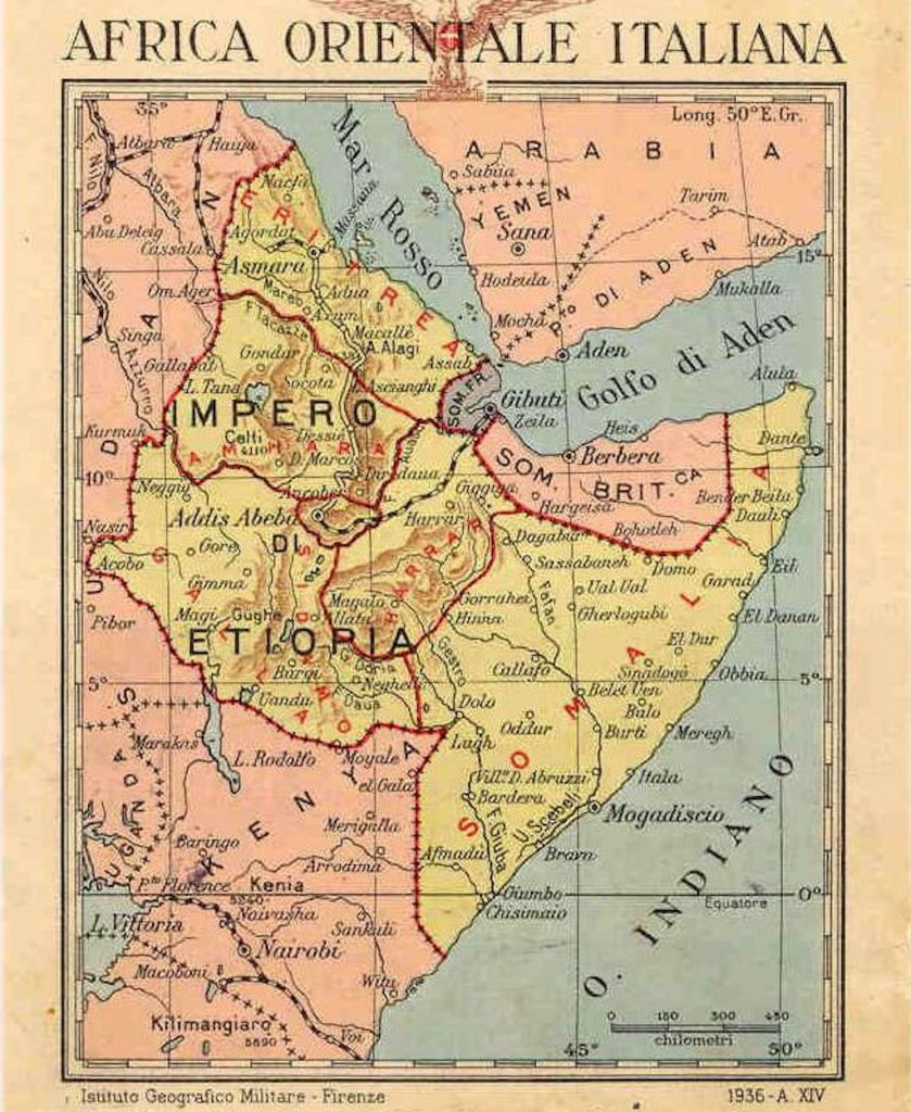 Map of Italian East Africa.
