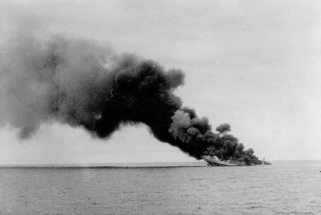 The Ramb 1 sinks after being hit by HMS Leander, on 27 November 1940.