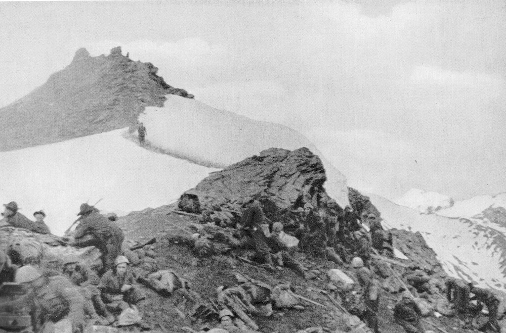 The Val Dora battalion of the 5th Alpini Regiment in action in the Colle della Pelouse during the Italian invasion of France in June 1940.