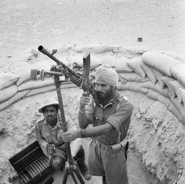 Indian troops man a Bren gun on an anti-aircraft tripod, Western Desert April 1941