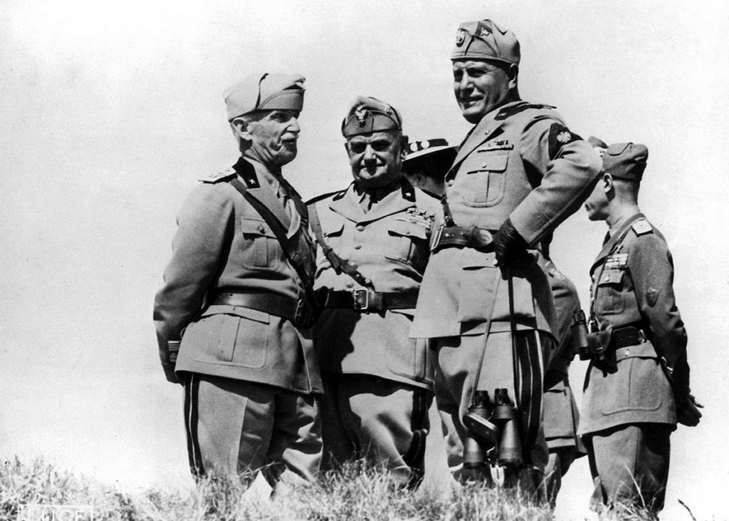 Mussolini and his generals.