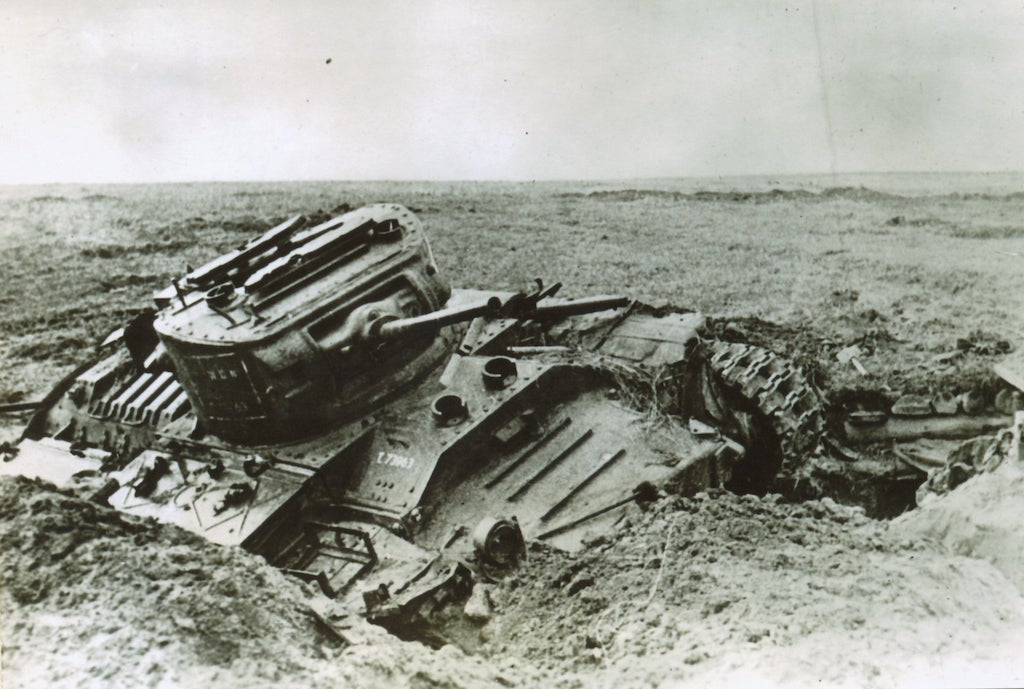 A destroyed Valentine tank.