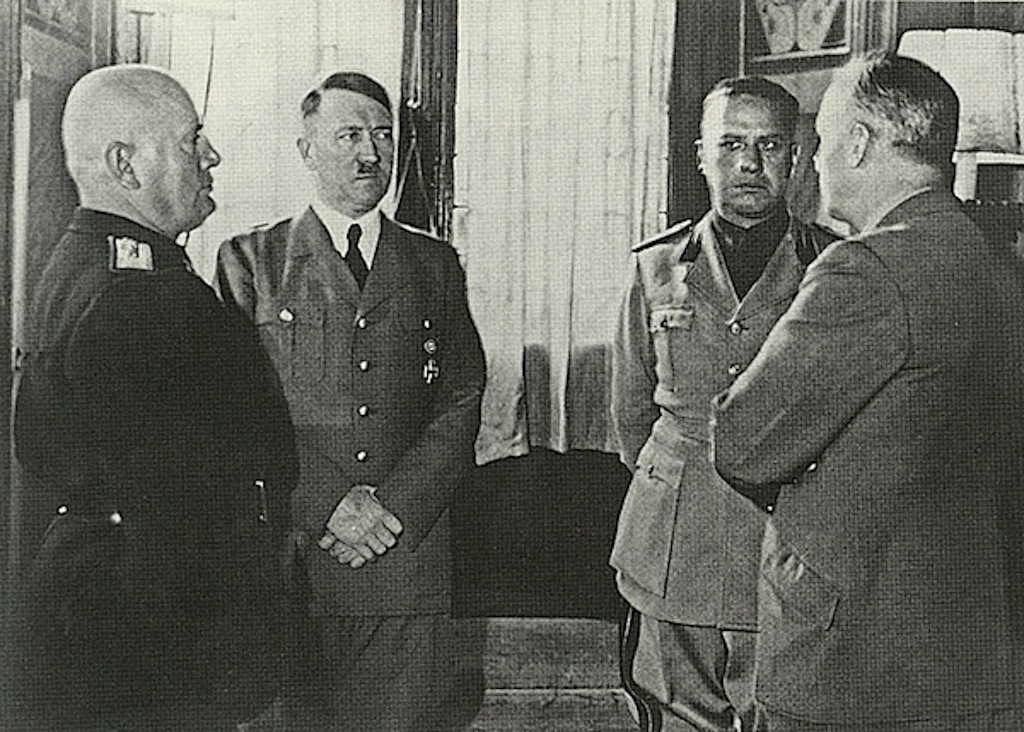Meeting between Mussolini, Hitler, Ciano and Von Ribbentrop.