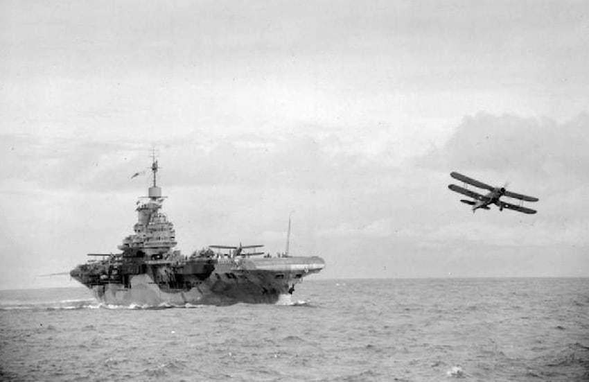 A Fairey Albacore torpedo bomber takes off the HMS Formidable.