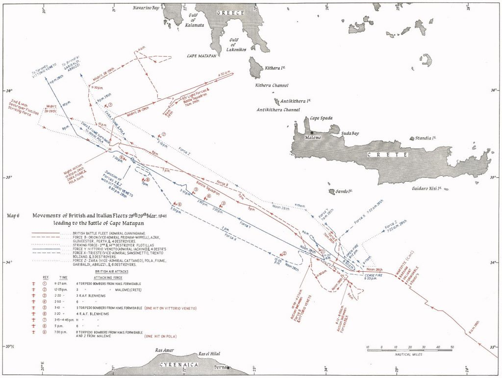 Map of the Battle of Cape Matapan.
