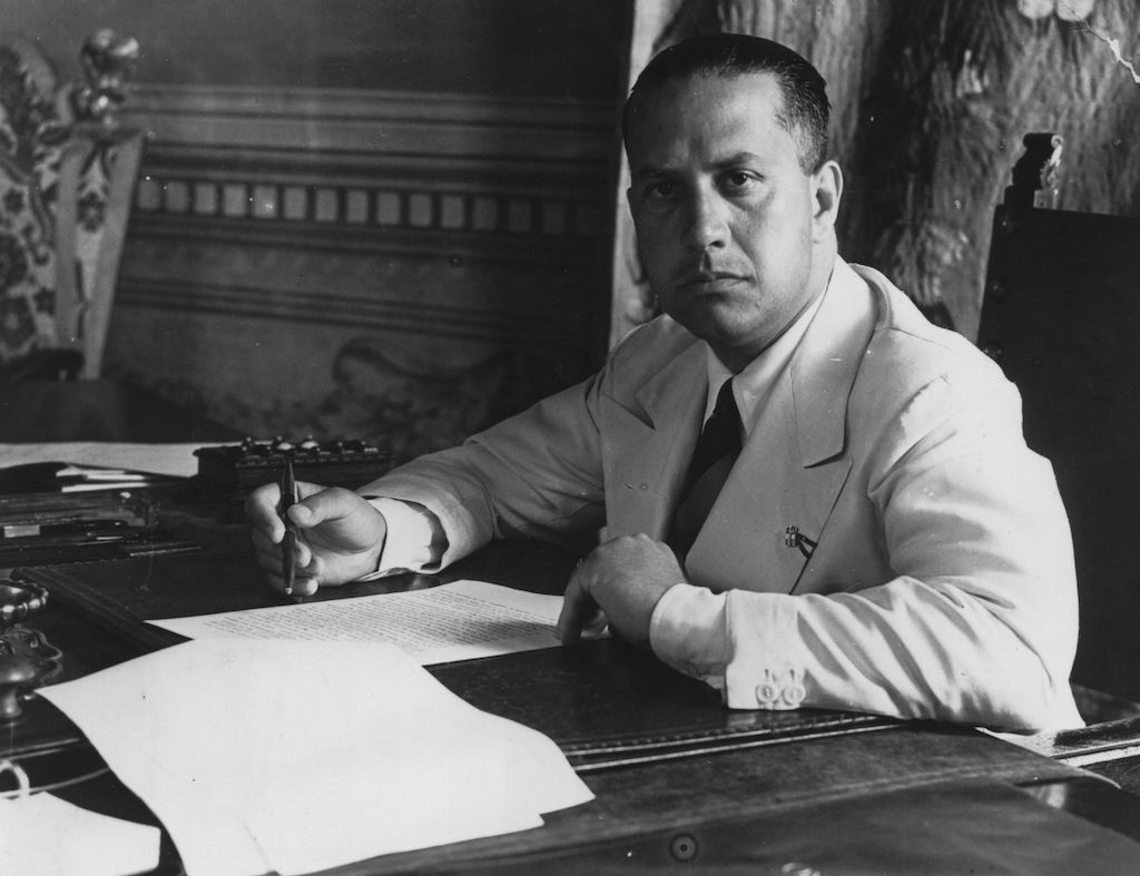 Italian diplomat Count Galeazzo Ciano (1903 - 1944), Mussolini's foreign minister, and son in law, at work in his office at Rome. (Photo by Keystone/Getty Images)