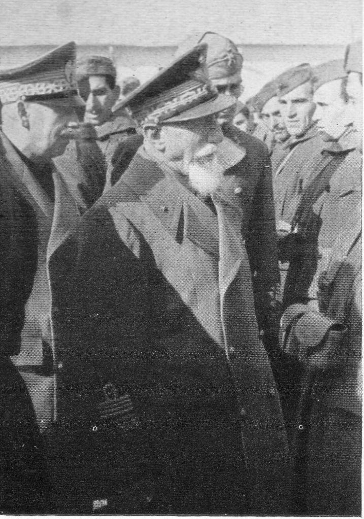 Marshal of Italy Emilio de Bono reviewing troops in Rhodes, Greece 1940.