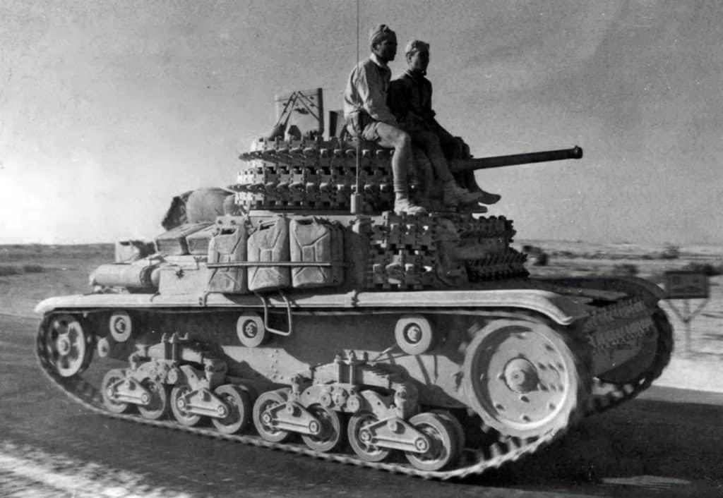 This Fiat M14/41 can be seen with tracks being used for additional armor protection.