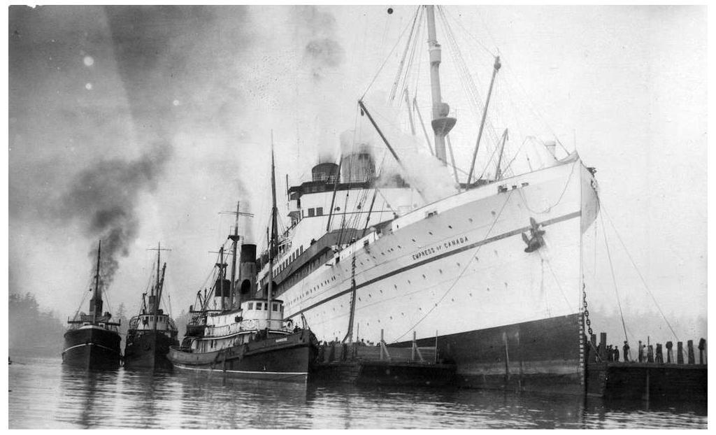 The RMS Empress of Canada was sunk by the RM Leonard da Vinci off the coast of Africa on March 13, 1943.