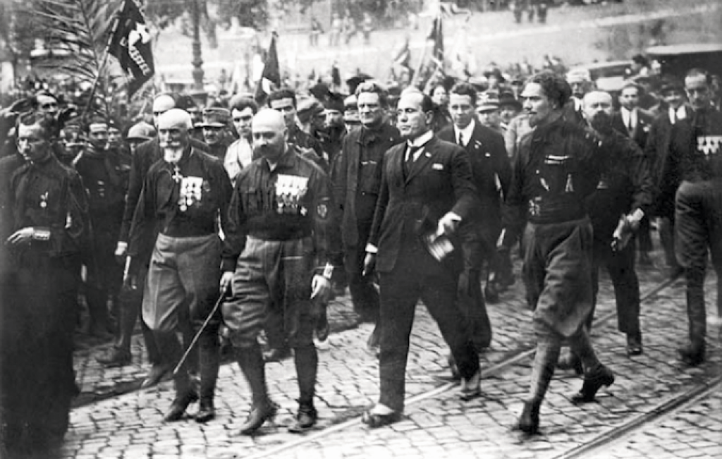 The Quadrumvir lead the March on Rome. L-R are Emilio De Bono, Cesare Maria De Vecchi, Benito Mussolini, and Italo Balbo.