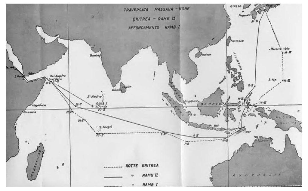 Route map of Italian vessels Eritrea, Ramb I, and Ramb II in the Far East.