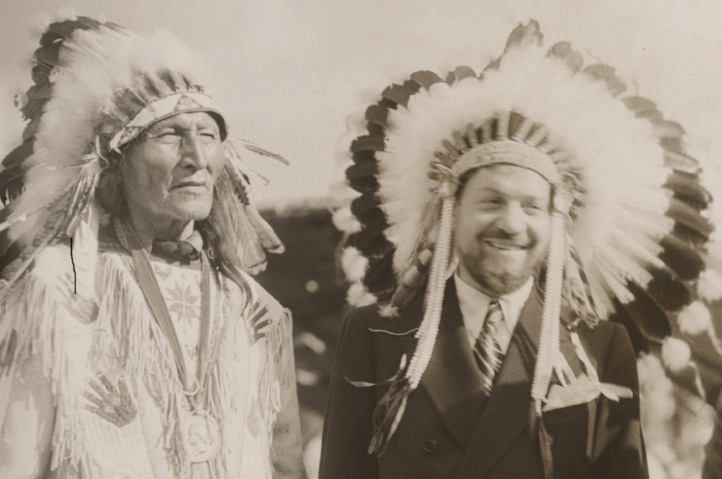"A photo of Chief Blackhorn of the Sioux and ""Chief Flying Eagle"" Italo Balbo."