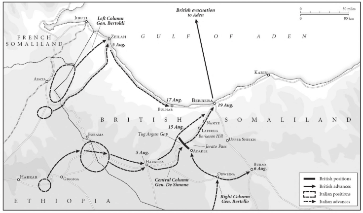 Map showing the Italian invasion of British Somaliland.