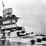 The Conte di Cavour sinks in shallow water following the Battle of Taranto.