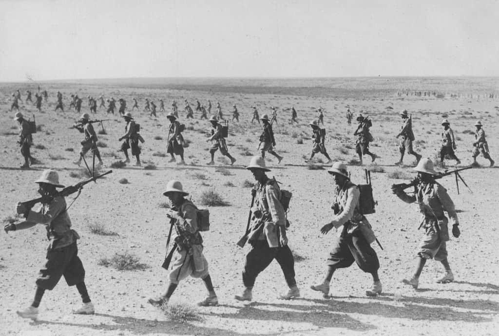 Italian troops entering British Somaliland.