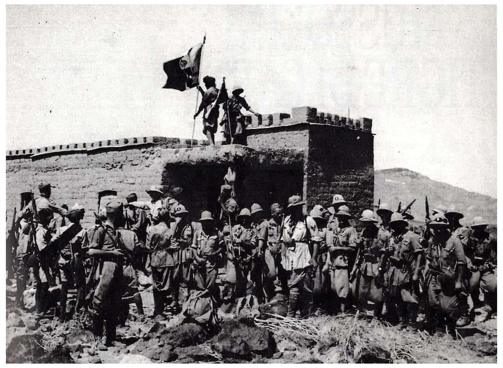Italian infantry seen here in front of a captured British outpost in British Somaliland.
