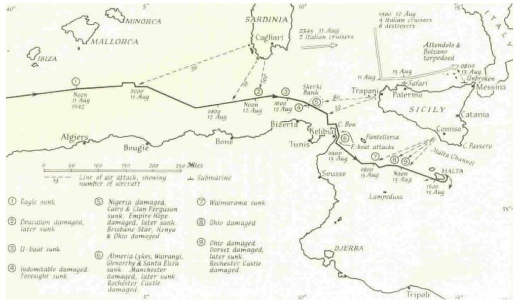 Operation Pedestal route indicating were major attacks occurred.