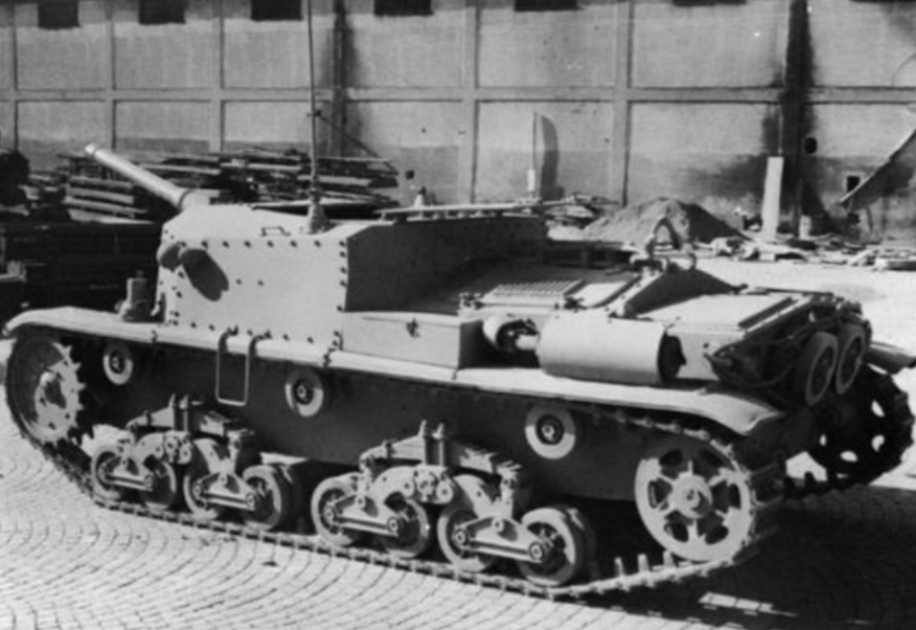 The Semovente 75/34 prototype at the Ansaldo factory in Genoa, Italy, 26 February 1943.