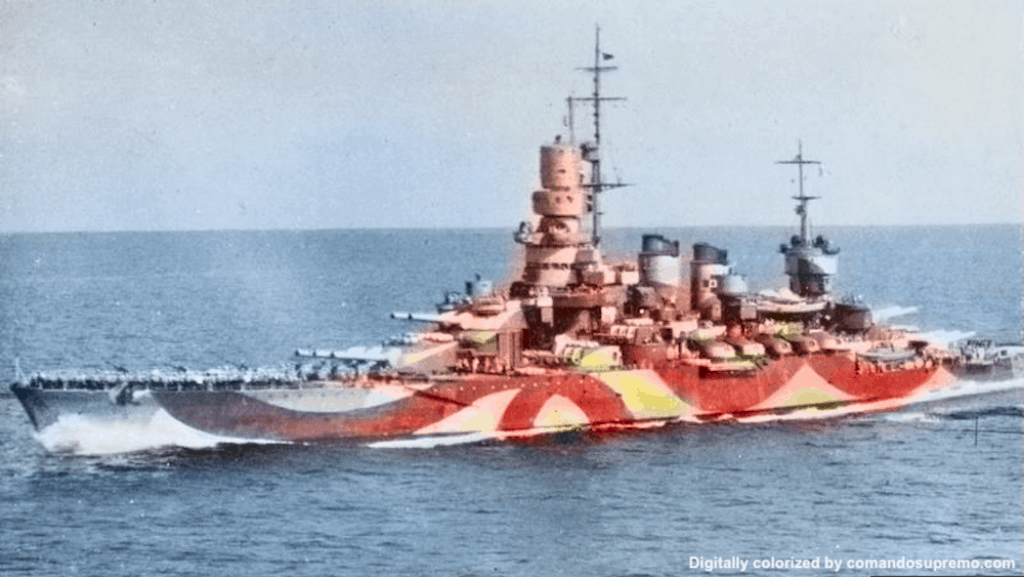A digitally colorized photo of the camouflage pattern of the Andrea Doria Battleship as she sails to Malta in September 1943.