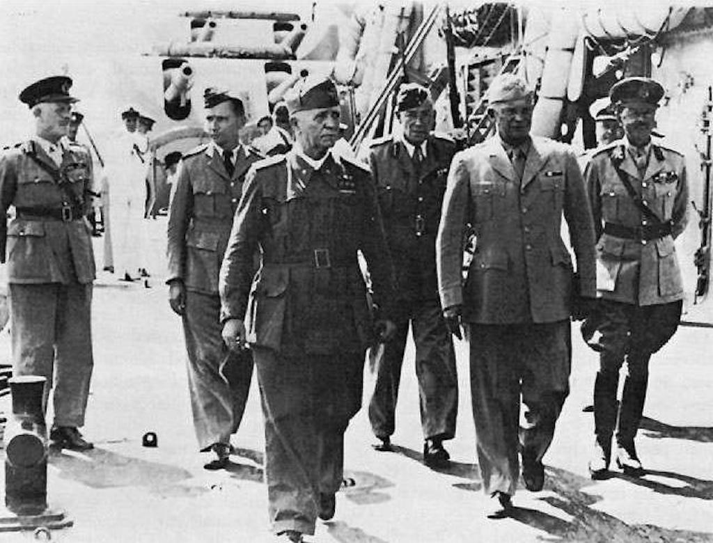 Marshal Pietro Badoglio and General Eisenhower on the Battleship Nelson, 20 October 1943.