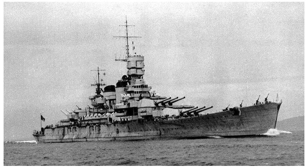 Littorio class Battleship Roma in 1942.