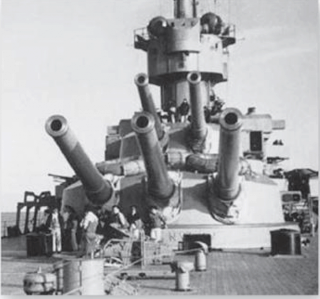 The Caio Duilio aft 12.6-inch gun turrets. The Caio Duilio is an Andrea Doria class battleship.