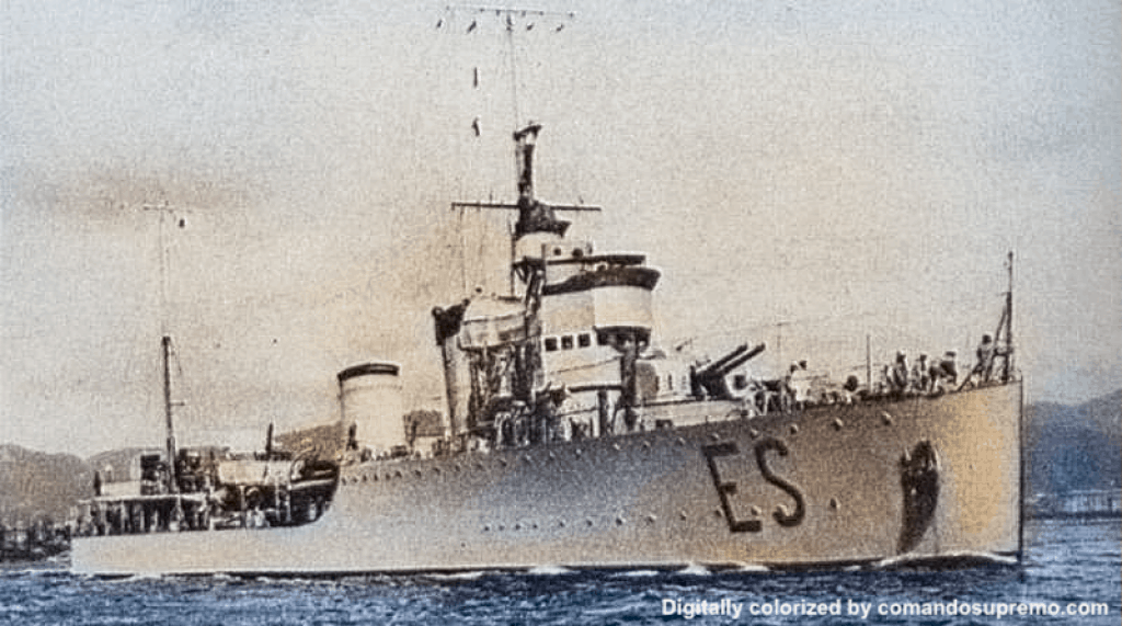 A colorized photo of the Espero. Original photo taken on 01 January 1940.