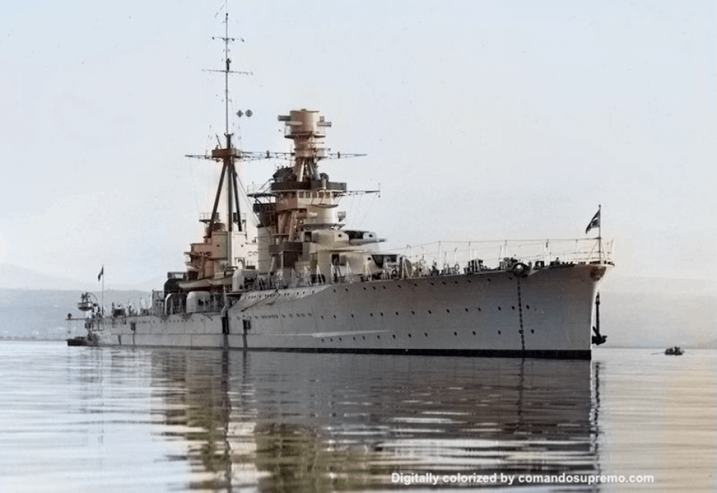Regia Marina cruiser Fiume. Image digitally colorized.