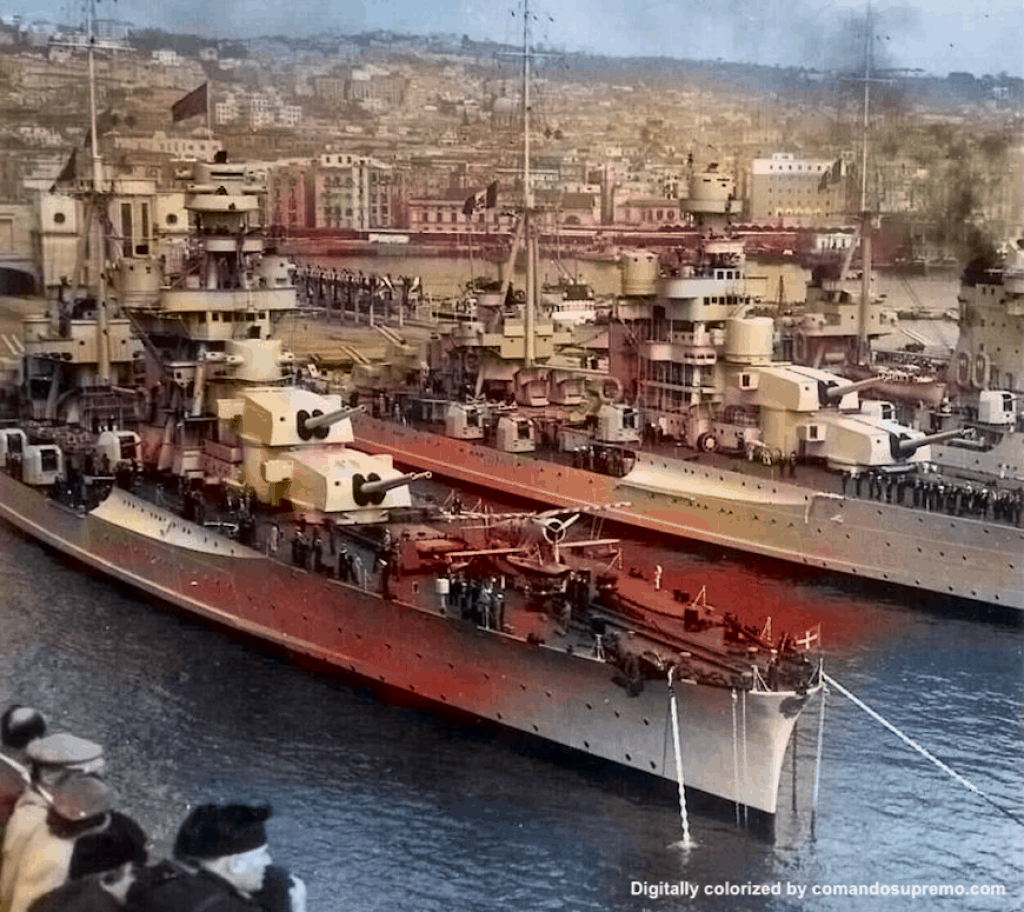 Cruisers Fiume, Pola and Zara in the port of Naples. Image digitally colorized.