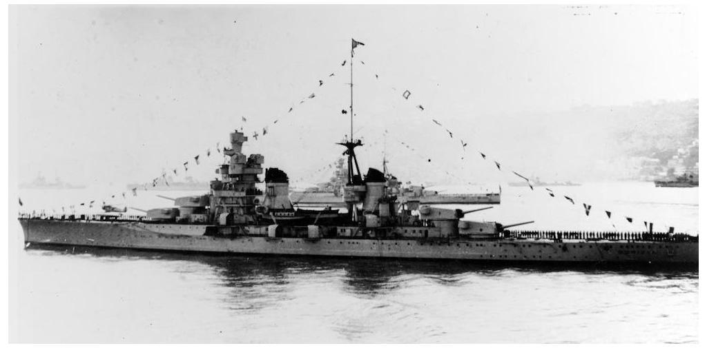 Zara class Gorizia in a fleet review in 1938. Fate of regia marina.