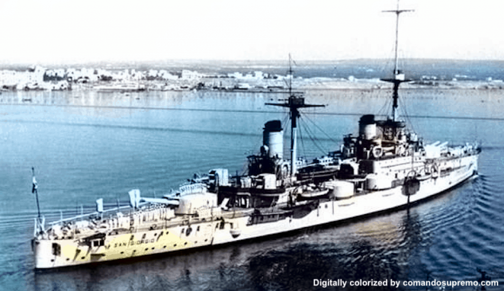 The San Giorgio in 1937. Image digitally colorized.