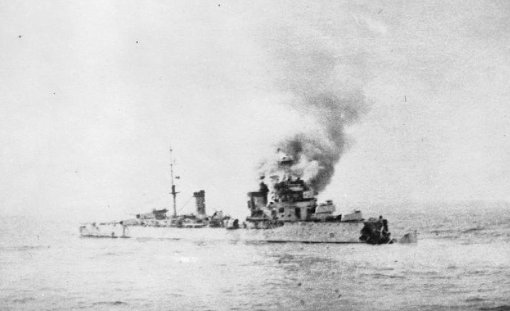 The Bartolomeo Colleoni with her bow destroyed by HMAS Sydney.