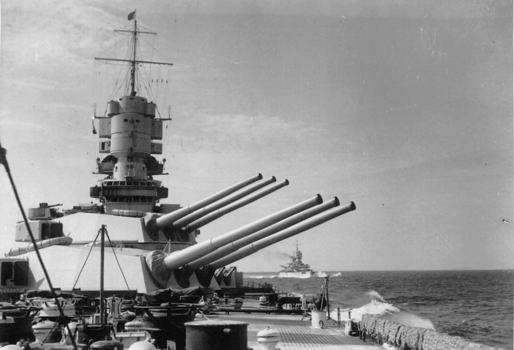 A view of the main guns on the Vittorio Veneto.