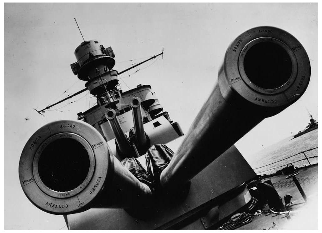 The main guns of a Zara class cruiser.