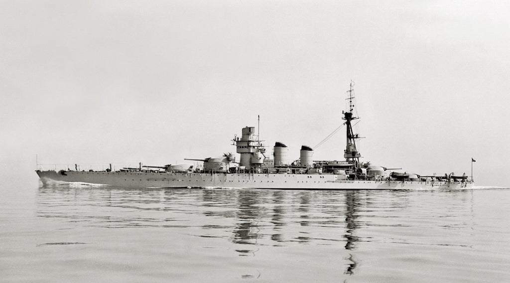 The Conte di Cavour Battleship after modernization in 1937.