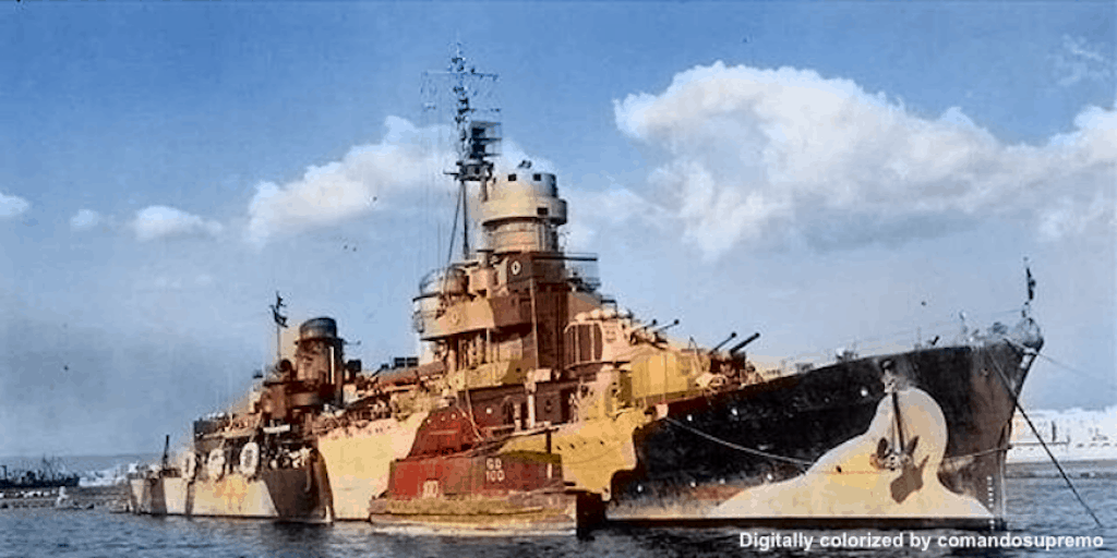 A digitally colorized image of the Scipione Africano taken in October 1943.