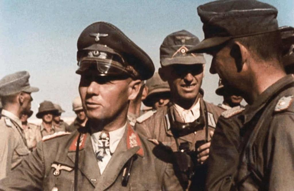 A 1942 color photograph of Erwin Rommel (L) and his staff in North Africa.