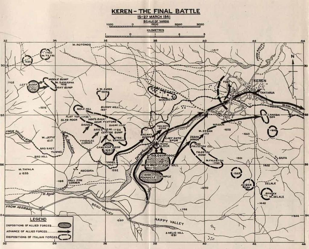 Map of battle of Keren order of battle