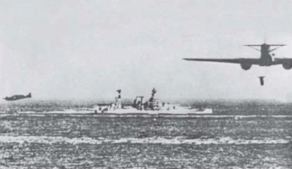 A SM.79 Sparviero drops a Whitehead Torpedo towards the HMS Barham (1941).