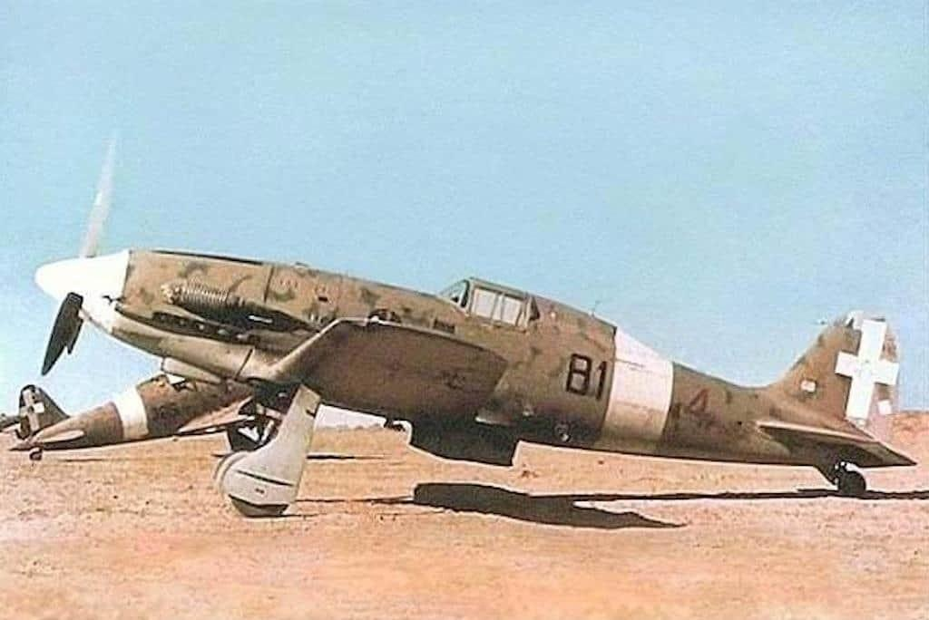 A color photo of the Macchi MC.202 Folgore attached to the 81ª Squadriglia, 6° Gruppo, 1° Stormo CT in Libya.