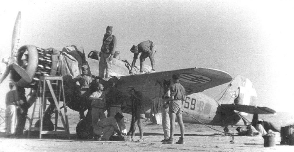 Maintenance being conducted on the Ba.65 in Tobruk, Libya.