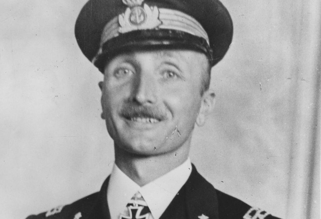 """A photo of Carlo Fecia di Cossato after receiving the """"Knight's Cross"""" from German Admiral Karl Donitz."""