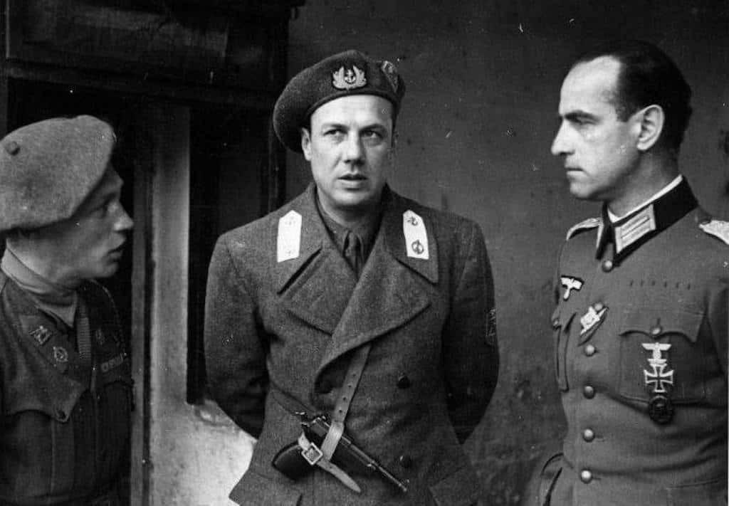 A 1944 photo of Junio Valerio Borghese with a German official to his left.