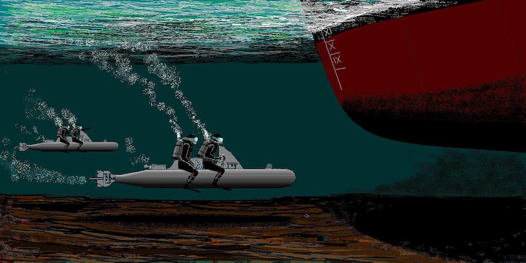 Artist rendition of two Siluro a Lenta Corsa approaching a target vessel.