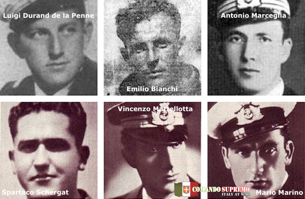 The six frogmen who took part in the Decima Mas attack on Alexandria.